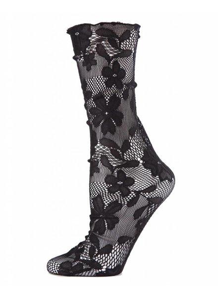 MeMoi Floral Lace Slouch Socks