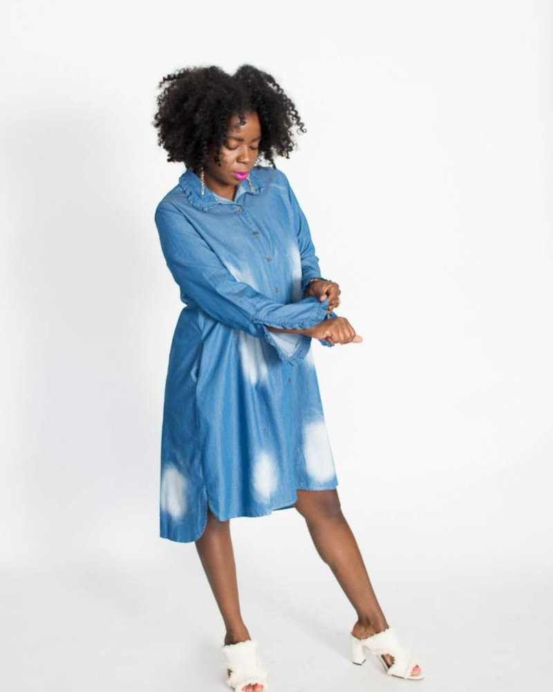 Ruffle Sleeve Denim Dress