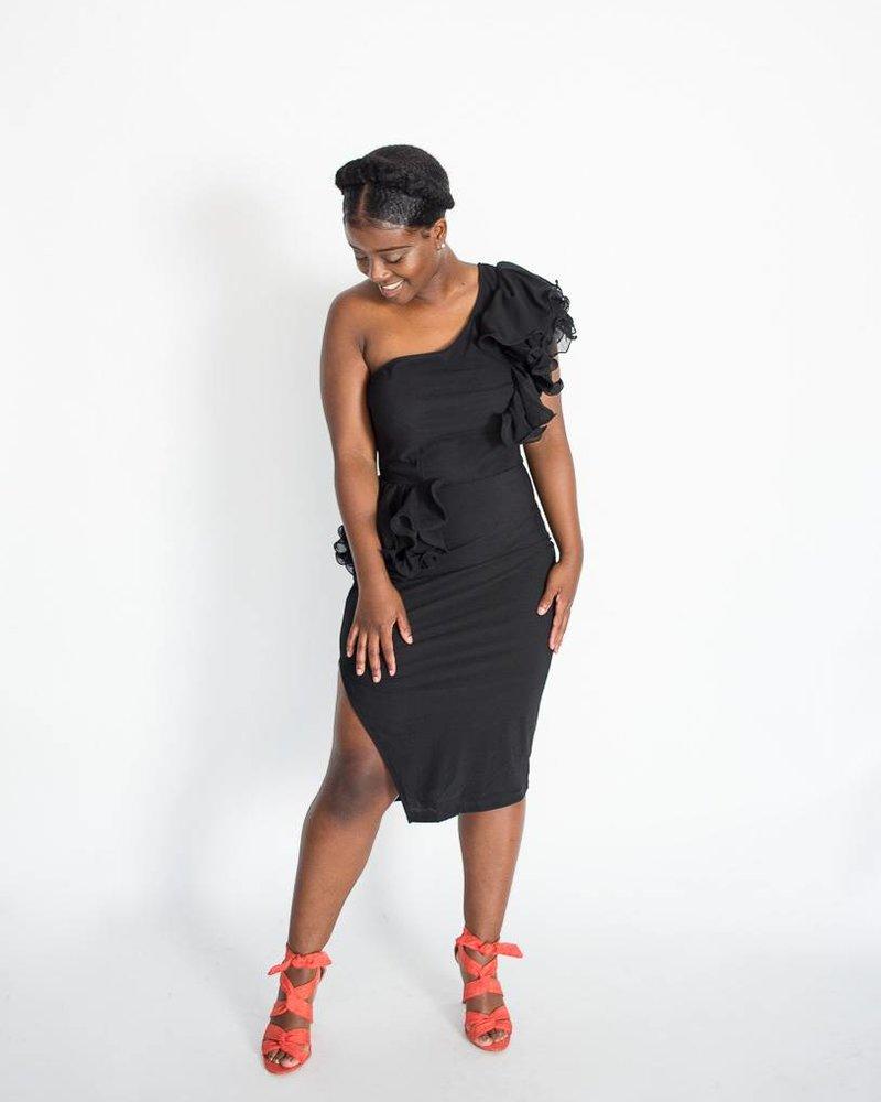 Ruffled One-Shoulder Dress