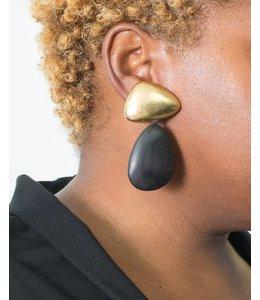 Monies Gold & Wood Earring