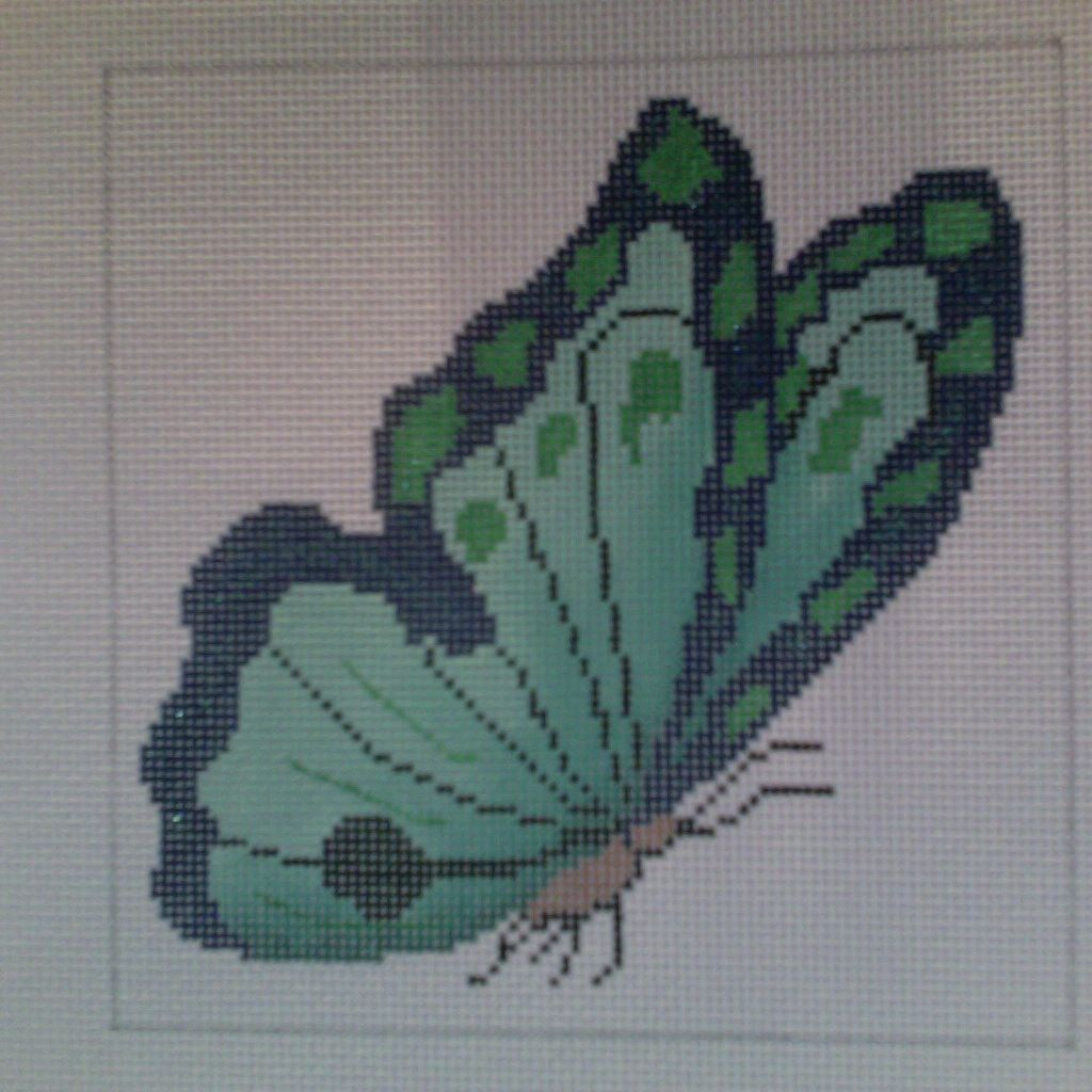 Canvas BLUE GREEN BUTTERFLY  YBX23B
