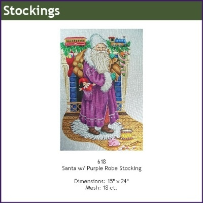 Canvas SANTA IN PURPLE ROBE  618