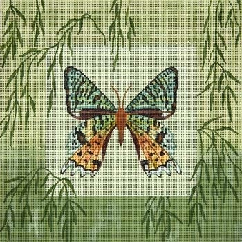 Canvas GREEN MOTH AND BAMBOO 043