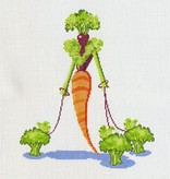 Canvas CARROT LADY WITH BROCCOLI POOCH  1236