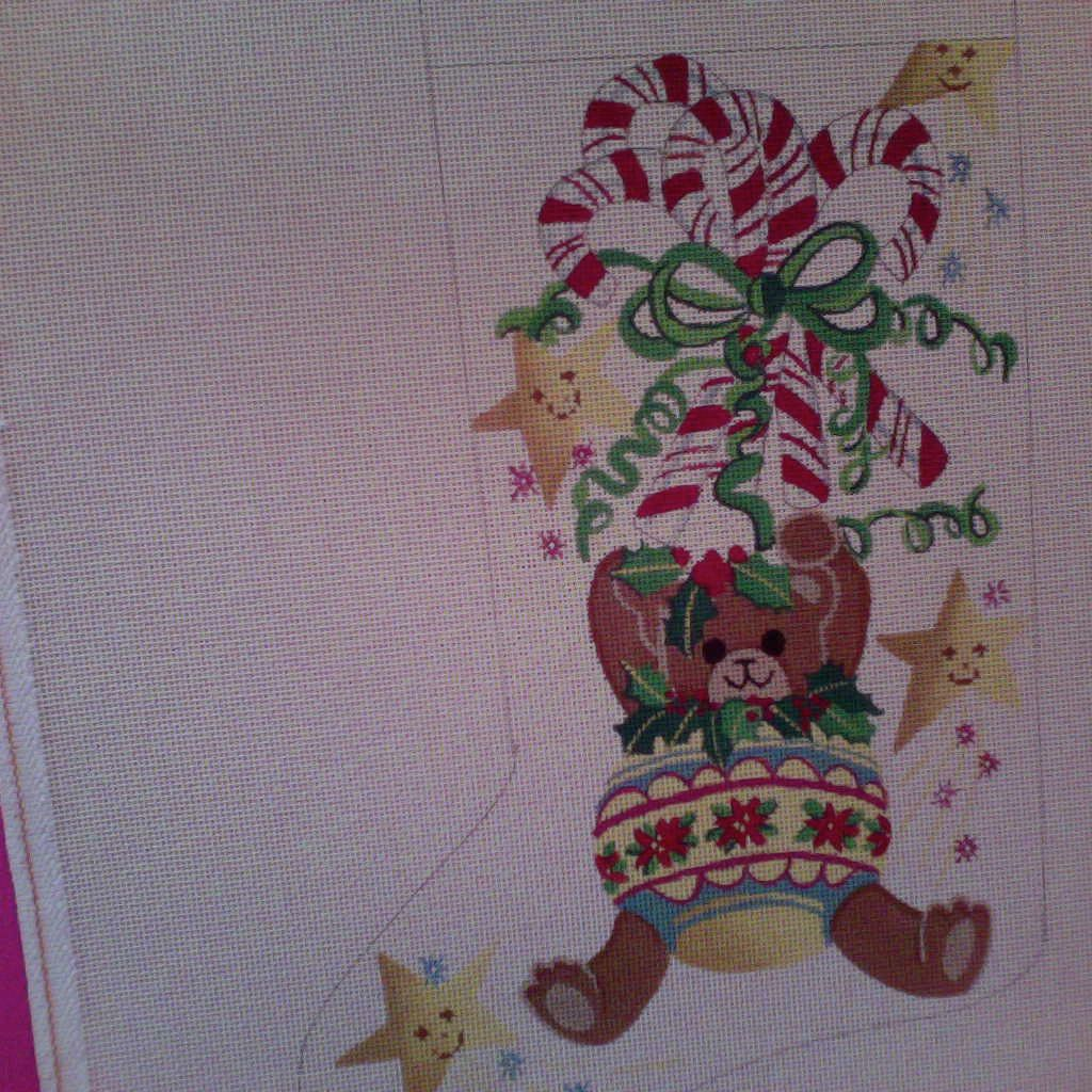 Canvas TEDDY BEAR ORNAMENT  4048
