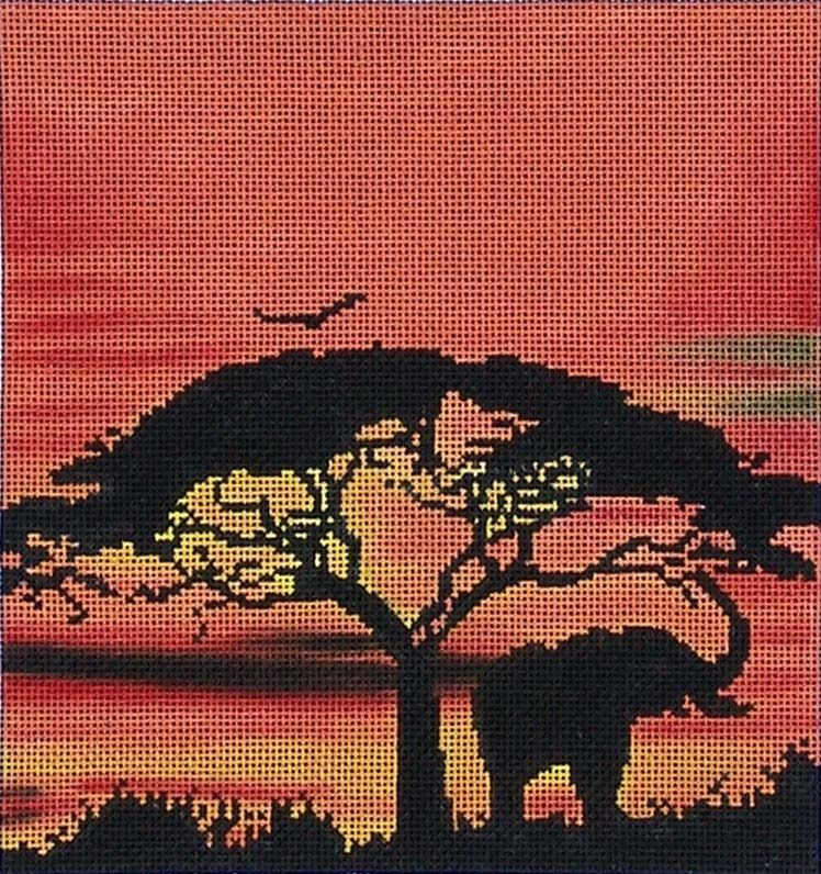 Canvas ELEPHANT AT SUNSET 7X7  A001