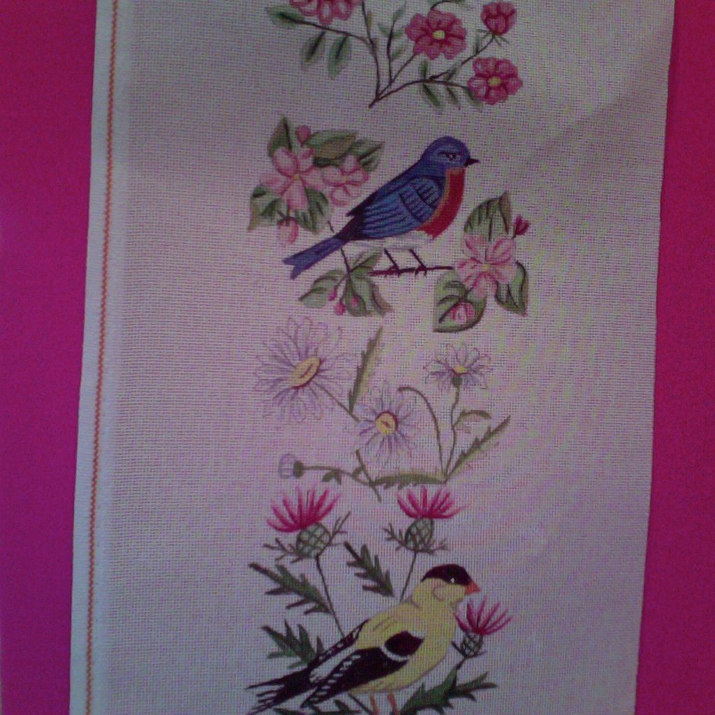 Canvas BIRDS AND WILDFLOWERS BELLPULL  PL02<br /> <br /> SALE REG $152