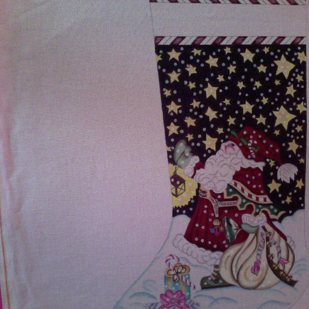 Canvas SANTA WITH LANTERN  X28