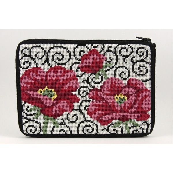 Canvas POPPIES ON SCROLLS EYEGLASS CASE  SZ450