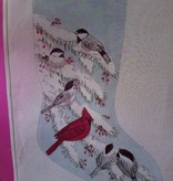 Canvas CHICKADEES AND CARDINAL STOCKING  C68
