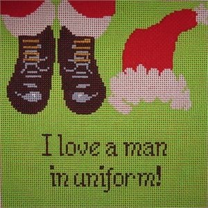 Canvas I LOVE A MAN IN UNIFORM  S328<br /> WITH STITCH GUIDE