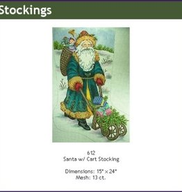 Canvas VICTORIAN SANTA AND CART GE612