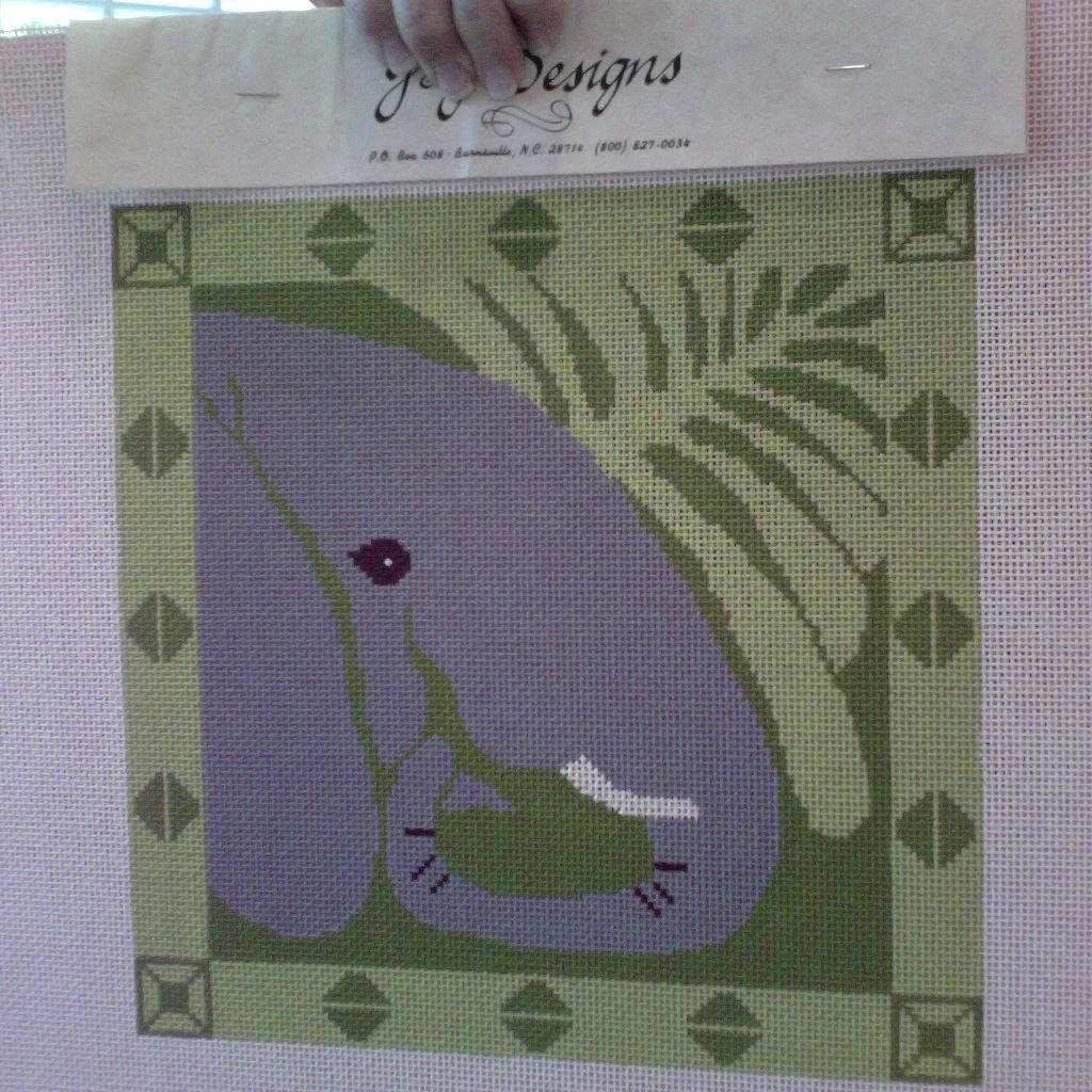 Canvas ELEPHANT HEAD WITH BORDER P130B