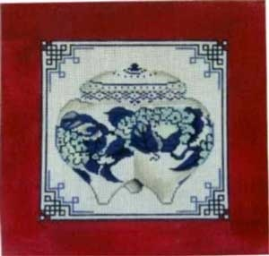 Canvas CHINESE JAR BLUE WHITE RED   FL416