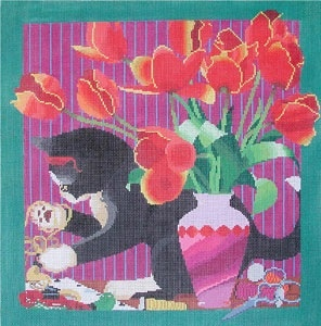 Canvas KITTEN WITH NEEDLEPOINT  S1