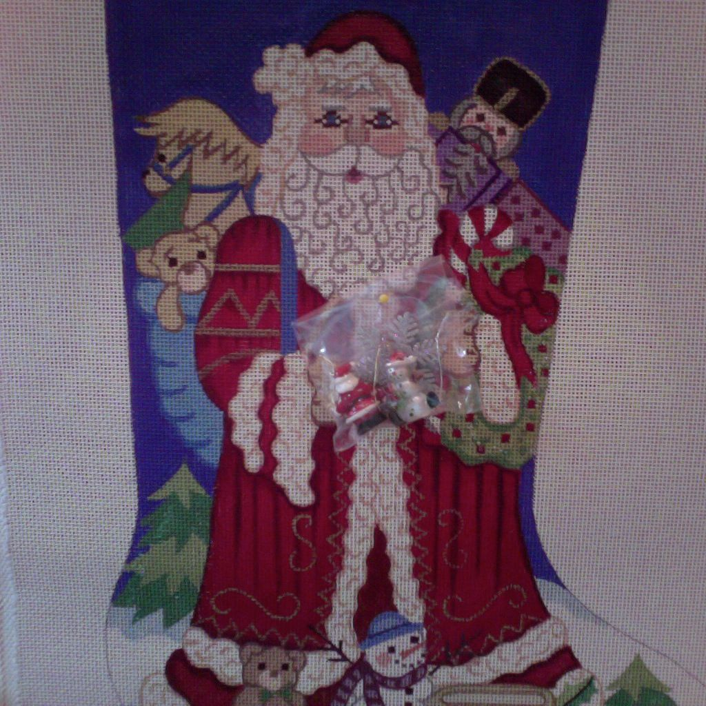 Canvas SANTA WITH TOYS AND HOLDING CHARMS  7266