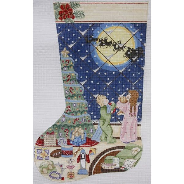 Canvas XMAS NIGHT STOCKING  1787