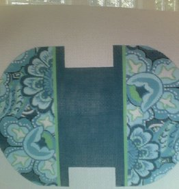 Canvas BLUE AND GREEN CLAM SHELL COIN POUCH DL961B