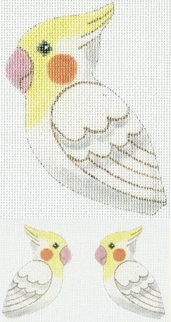 Canvas WHITE COCKATIEL CLIP-ON BIRD  300V