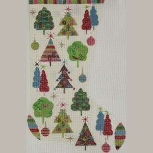 Canvas CHRISTMAS TREES STOCKING  2390