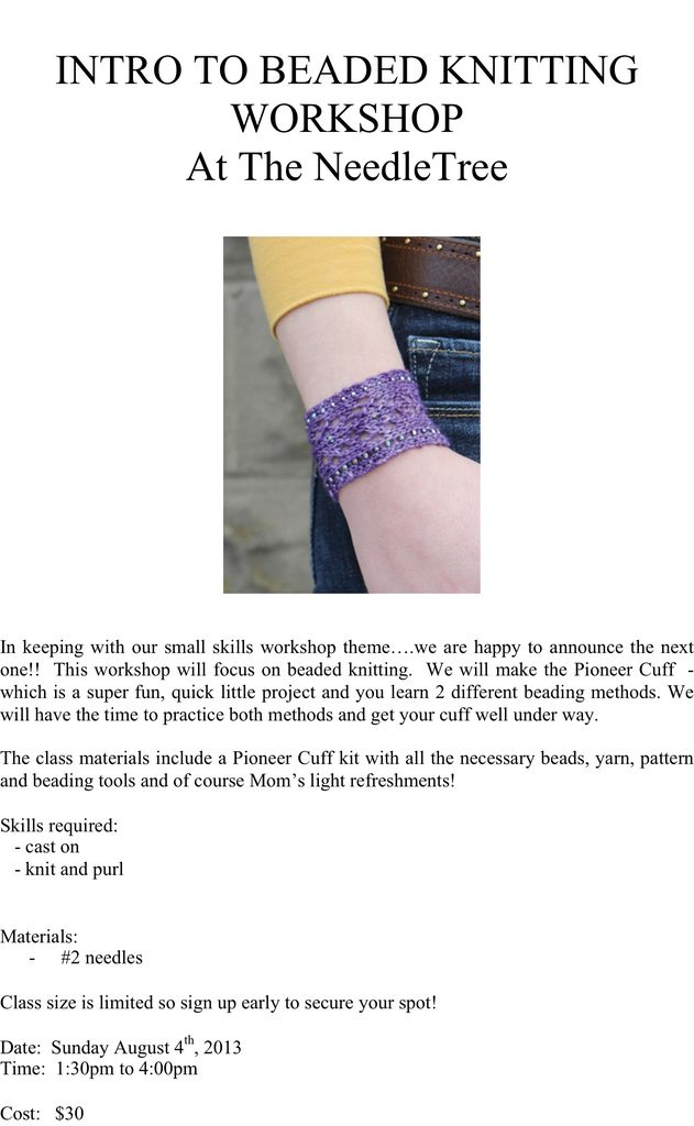 Class INTRO TO BEADED KNITTING WORKSHOP