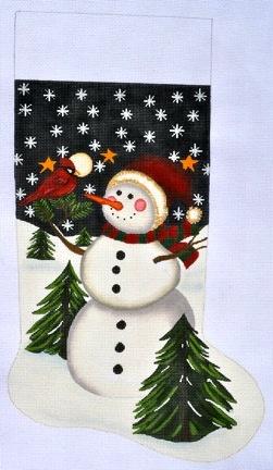 Canvas SNOWMAN AND CARDINAL STOCKING  LK52