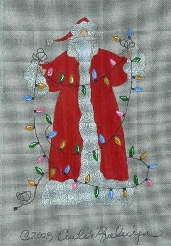 Canvas CHRISTAMS TREE LIGHTS SANTA