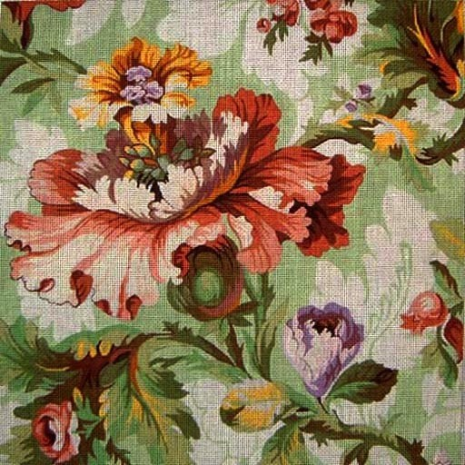 Canvas GREEN FLORAL WITH POPPY   011S