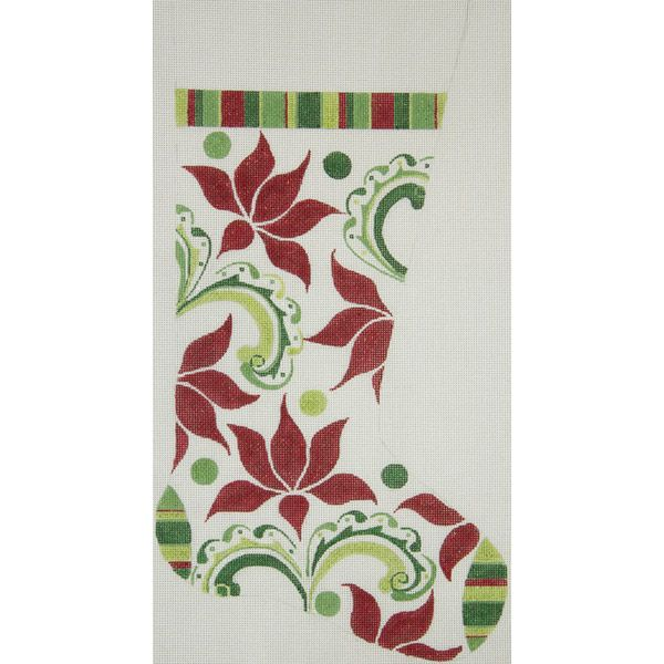 Canvas MODERN POINSETTIA STOCKING  2429