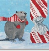 Canvas BEAVER WITH CANDY CANE  SCPL63