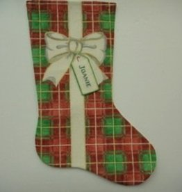 Canvas BOW RIBBONS STOCKING PLAID  XS3D