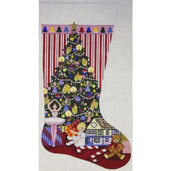 Canvas CHRISTMAS MORNING STOCKING  1997