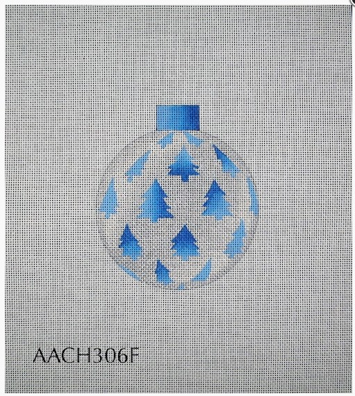 Canvas CHRISTMAS BALLSILVER WITH BLUE TREES  CH306F