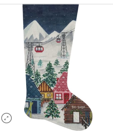 Canvas SKI VILLAGE STOCKING  2827