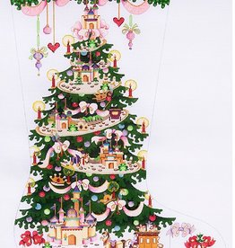 Canvas PINK SPARKLY GIRL TREE STOCKING CS182