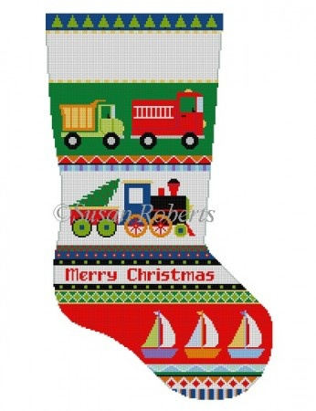 Canvas BOLD STRIPE TRUCKS, TRAINS, BOATS  STOCKING 3234