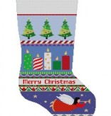 Canvas BOLD STRIPE CANDLES STOCKING 3241
