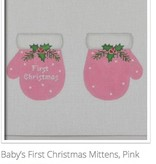 Canvas 1ST CHRISTMAS MITTENS  PINK MT03