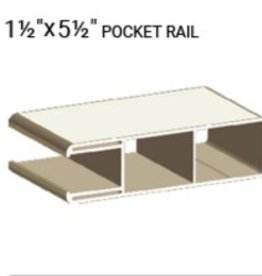 "VEKA 1 1/2"" X 5 1/2"" VINYL DURA POCKET RAIL (0.080 WALL)"