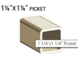 "VEKA 1 1/4"" X 1 1/4""  X 192"" VINYL PICKET PROFILE (0.100 WALL)"