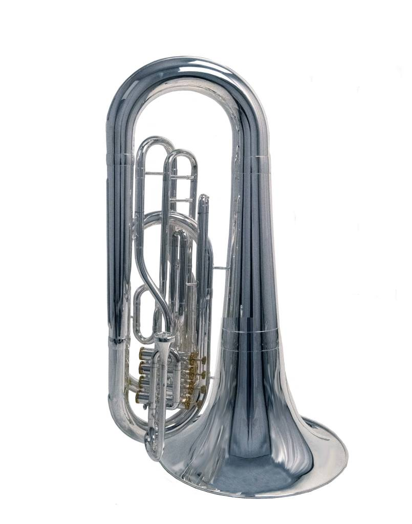 System Blue System Blue Traditional Marching BBb Tuba SB45S-LE - Silver - Over the Shoulder 3 Valve