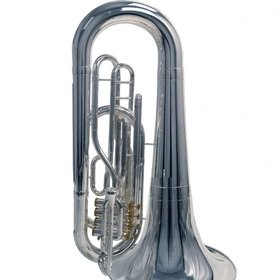System Blue System Blue Traditional Marching BBb Tuba SB50S-LE - Silver - Over the Shoulder 4 Valve