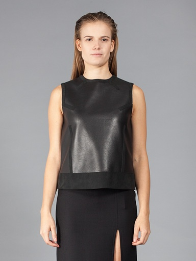 NEIL BARRETT WOMEN FAUX LEATHER SLEEVELESS TOP