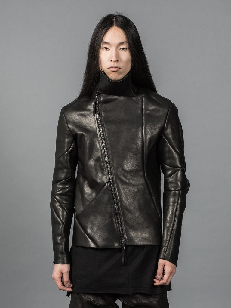 LEON EMANUEL BLANCK LEON EMANUEL BLANCK DISTORTION LEATHER JACKET SHORT VERSION HIGH COLLAR