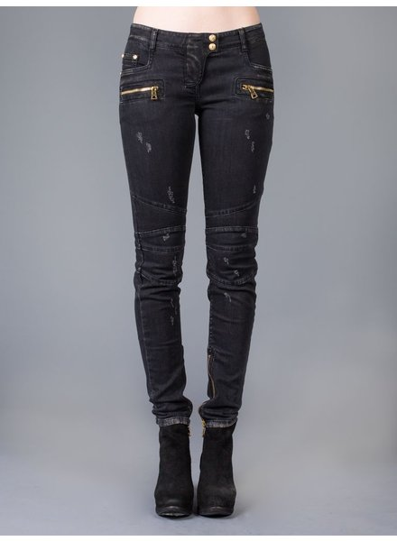 BALMAIN BALMAIN WOMEN STRETCH COTTON-DENIM BIKER JEANS