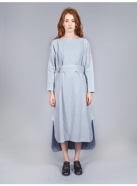 RENLI SU RENLI SU WOMEN STRIPED COTTON BIG DRESS W/ BELT
