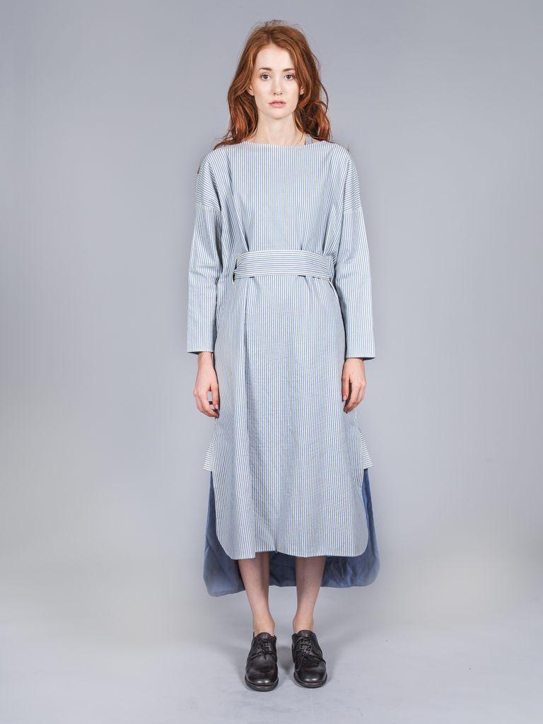 RENLI SU RENLI SU WOMEN STRIPED COTTON BIG DRESS W/ BELT