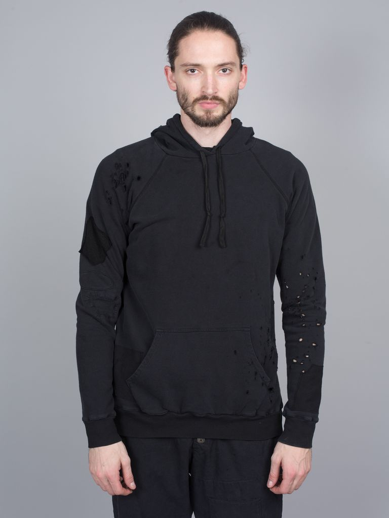 GREG LAUREN GREG LAUREN BLACK FLEECE PATCHWORK  DESTROYED HOODIE