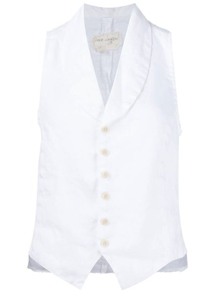 GREG LAUREN GREG LAUREN WOMEN IVORY HIGH SHAWL COLLAR VEST