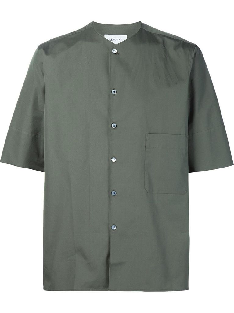 LEMAIRE LEMAIRE MEN SHORT SLEEVEED COLLARLESS SHIRT